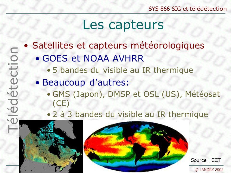 SYS-866 SIG et télédétection © LANDRY 2005 Les capteurs Satellites et capteurs météorologiques GOES et NOAA AVHRR 5 bandes du visible au IR thermique