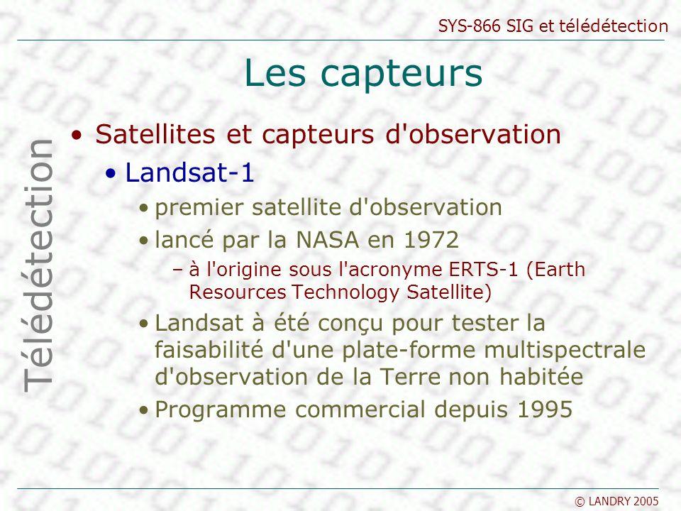 SYS-866 SIG et télédétection © LANDRY 2005 Les capteurs Satellites et capteurs d'observation Landsat-1 premier satellite d'observation lancé par la NA