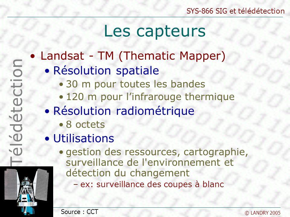SYS-866 SIG et télédétection © LANDRY 2005 Les capteurs Landsat - TM (Thematic Mapper) Résolution spatiale 30 m pour toutes les bandes 120 m pour linf