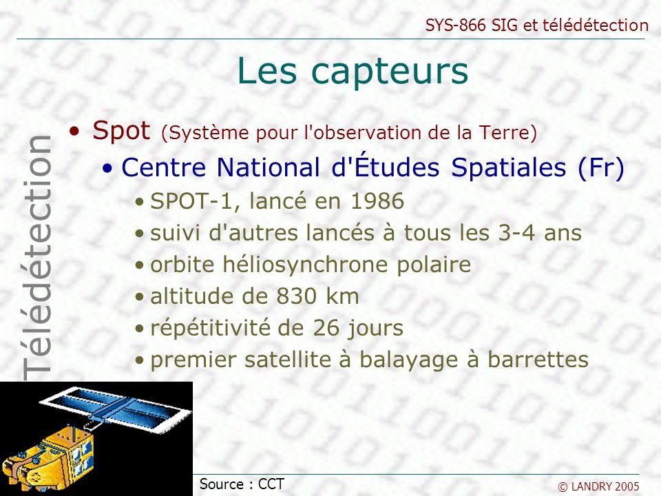SYS-866 SIG et télédétection © LANDRY 2005 Les capteurs Spot (Système pour l'observation de la Terre) Centre National d'Études Spatiales (Fr) SPOT-1,