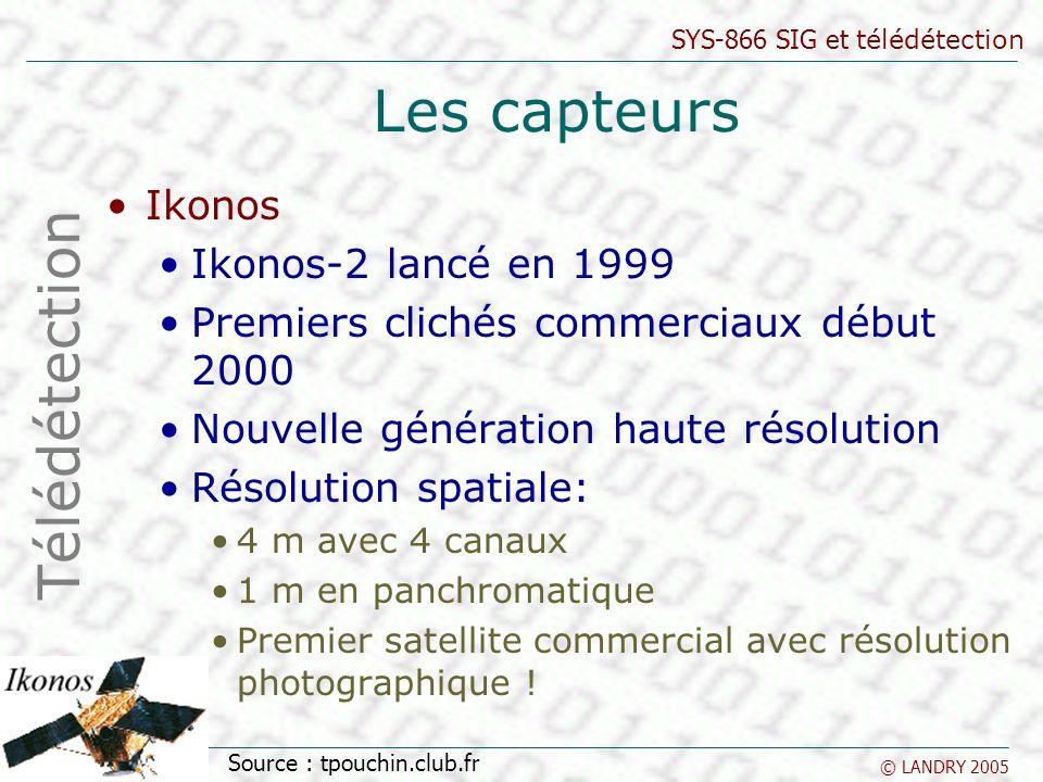 SYS-866 SIG et télédétection © LANDRY 2005 Les capteurs Ikonos Ikonos-2 lancé en 1999 Premiers clichés commerciaux début 2000 Nouvelle génération haut