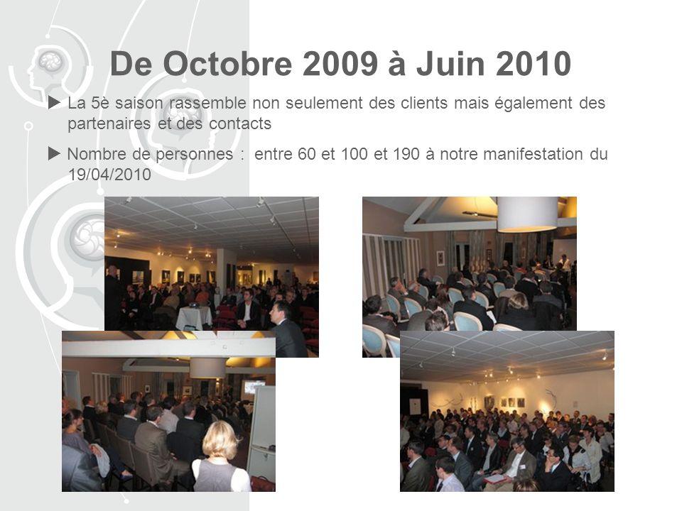De Octobre 2009 à Juin 2010 La 5è saison rassemble non seulement des clients mais également des partenaires et des contacts Nombre de personnes : entre 60 et 100 et 190 à notre manifestation du 19/04/2010