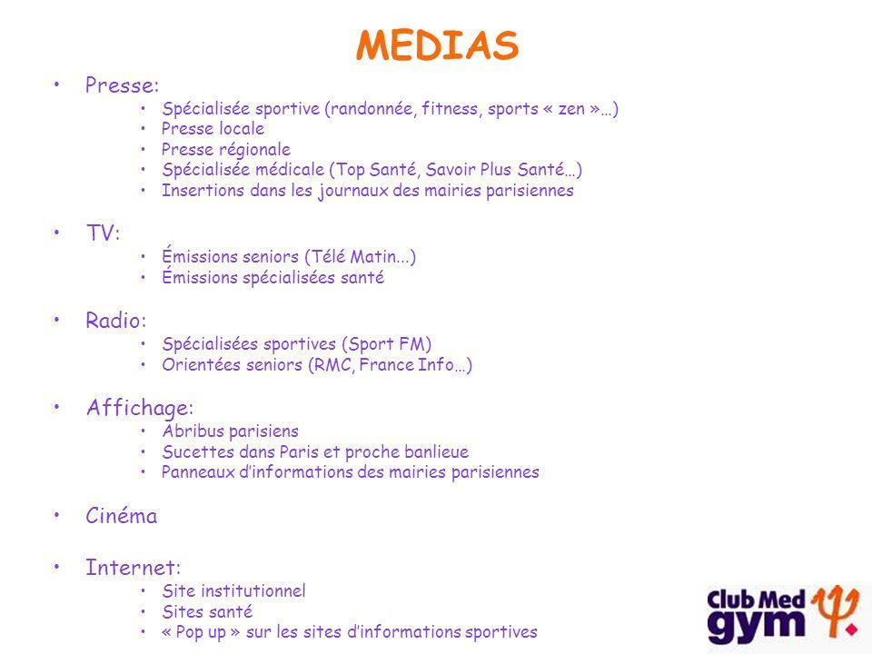 MEDIAS Presse: Spécialisée sportive (randonnée, fitness, sports « zen »…) Presse locale Presse régionale Spécialisée médicale (Top Santé, Savoir Plus