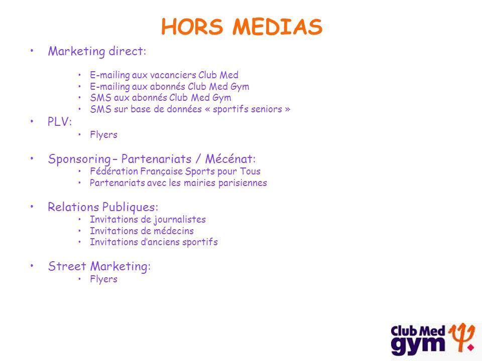 Marketing direct: E-mailing aux vacanciers Club Med E-mailing aux abonnés Club Med Gym SMS aux abonnés Club Med Gym SMS sur base de données « sportifs