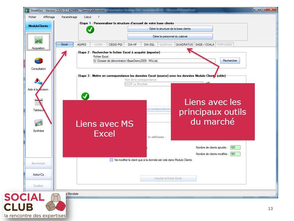 13 Liens avec les principaux outils du marché Liens avec les principaux outils du marché Liens avec MS Excel Liens avec MS Excel