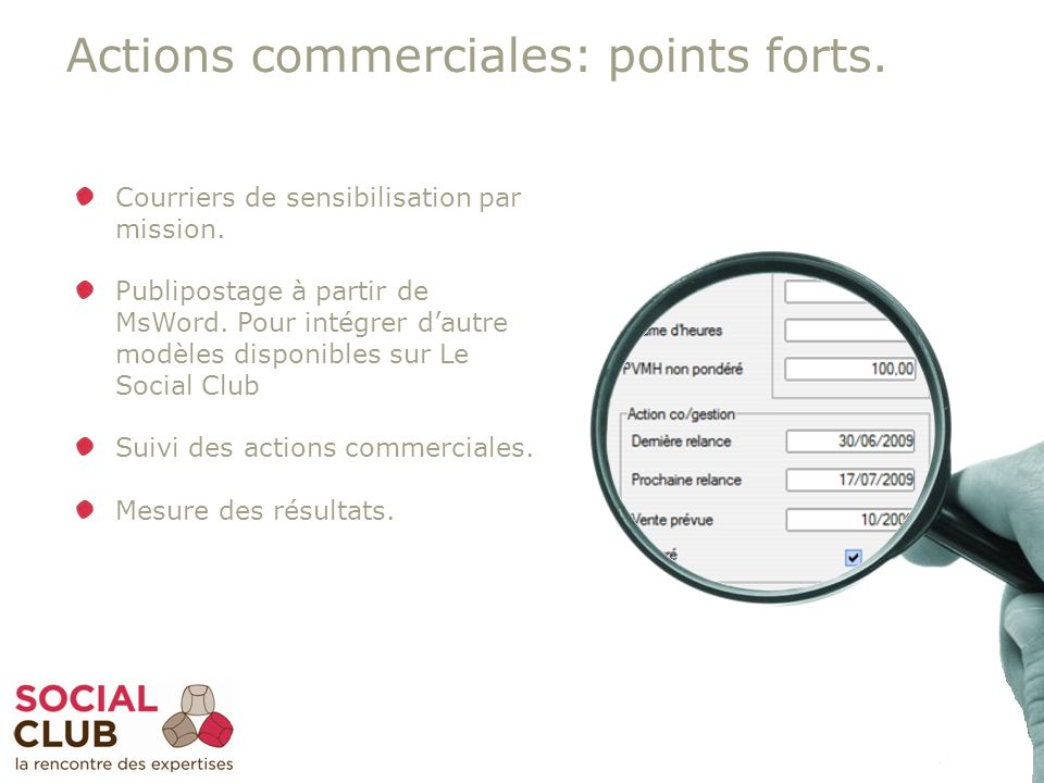30 Actions commerciales: points forts. Courriers de sensibilisation par mission.