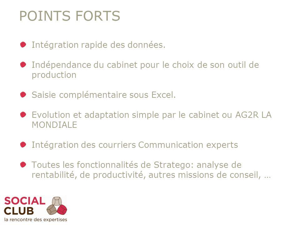 POINTS FORTS Intégration rapide des données. Indépendance du cabinet pour le choix de son outil de production Saisie complémentaire sous Excel. Evolut