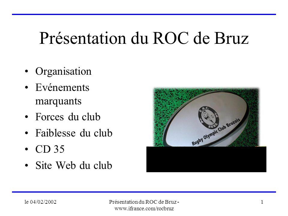 le 04/02/2002Présentation du ROC de Bruz - www.ifrance.com/rocbruz 1 Présentation du ROC de Bruz Organisation Evénements marquants Forces du club Faib