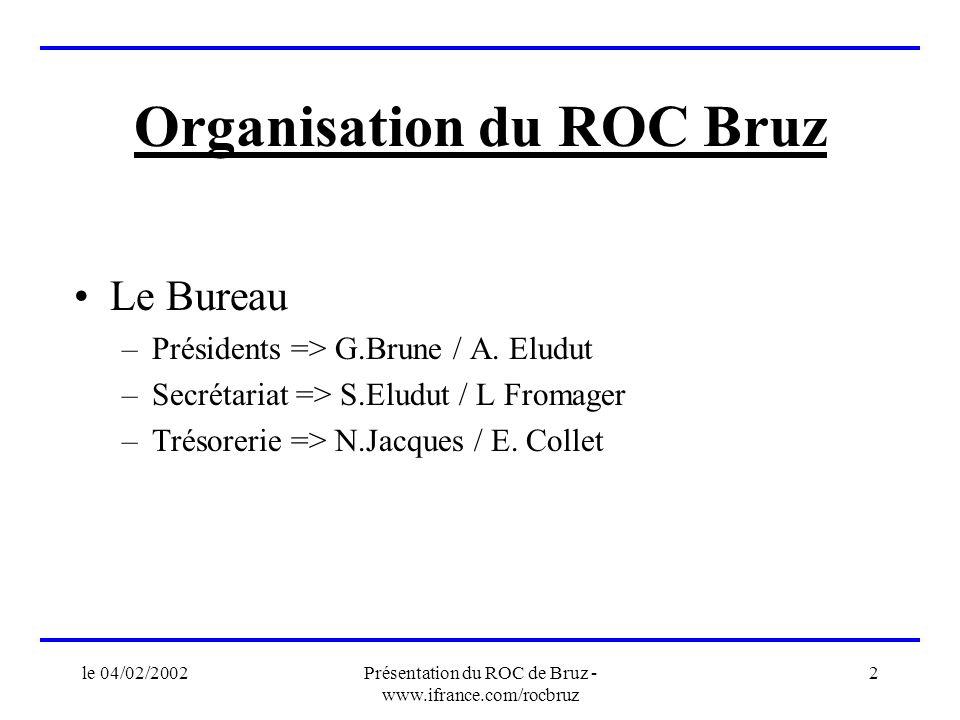 le 04/02/2002Présentation du ROC de Bruz - www.ifrance.com/rocbruz 2 Organisation du ROC Bruz Le Bureau –Présidents => G.Brune / A. Eludut –Secrétaria