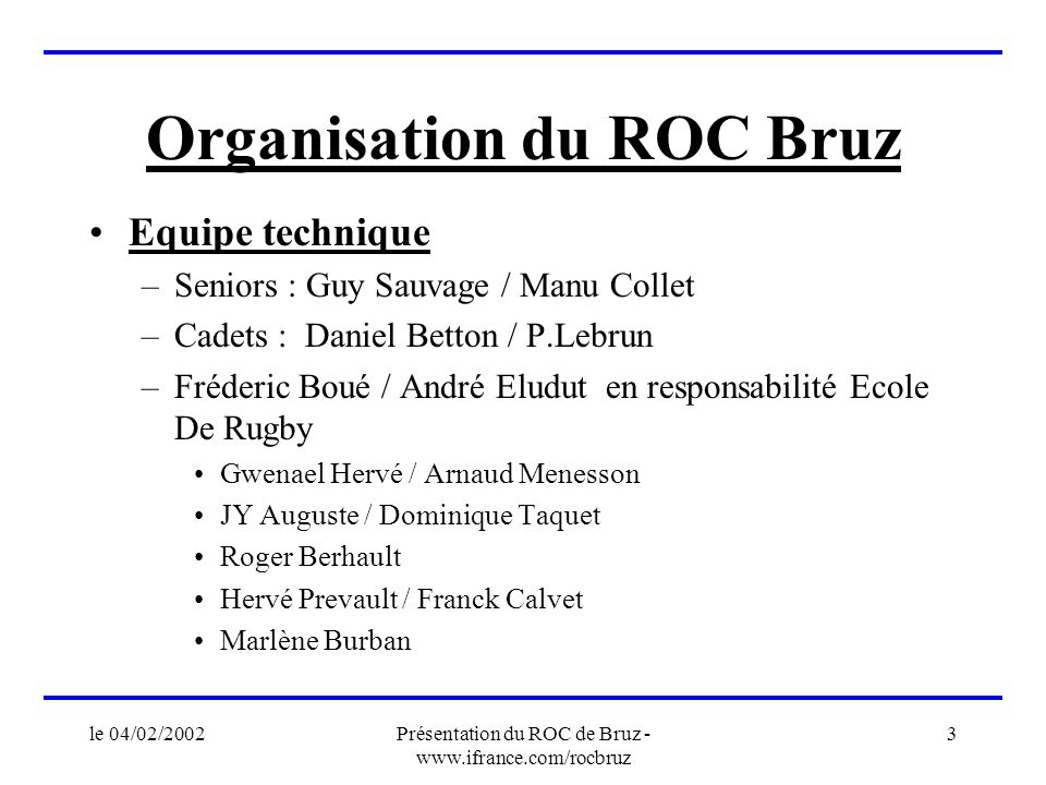 le 04/02/2002Présentation du ROC de Bruz - www.ifrance.com/rocbruz 3 Organisation du ROC Bruz Equipe technique –Seniors : Guy Sauvage / Manu Collet –C