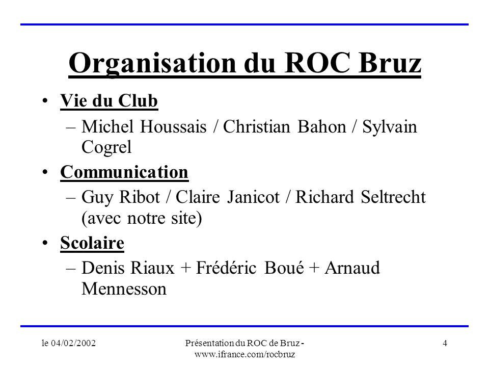 le 04/02/2002Présentation du ROC de Bruz - www.ifrance.com/rocbruz 4 Organisation du ROC Bruz Vie du Club –Michel Houssais / Christian Bahon / Sylvain