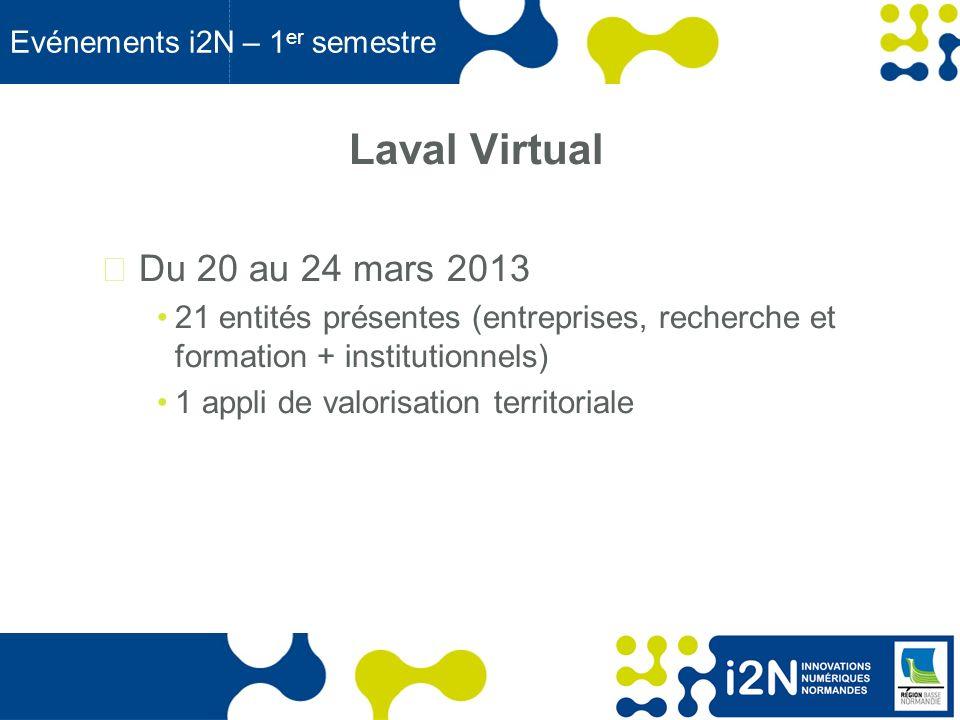 www.region-basse-normandie.fr Evénements i2N – 1 er semestre Laval Virtual Du 20 au 24 mars 2013 21 entités présentes (entreprises, recherche et formation + institutionnels) 1 appli de valorisation territoriale