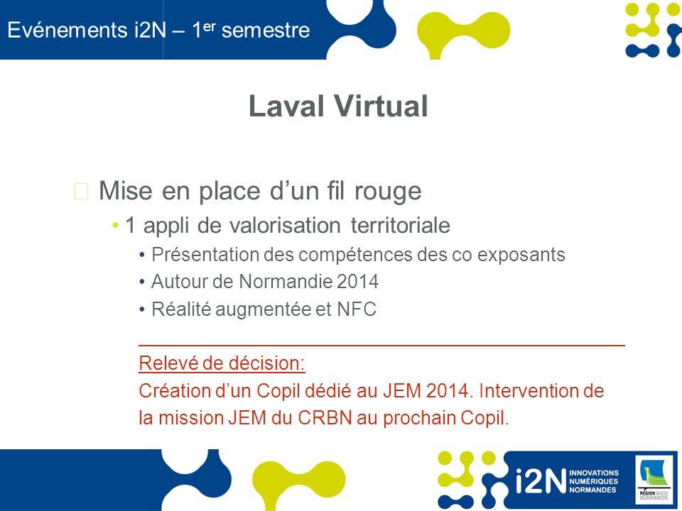 www.region-basse-normandie.fr Evénements i2N – 1 er semestre Forum du Tourisme et du Numérique Du 25 au 26 mars 2013 au CID Co organisation avec le Pôle TES Présence de la Région Un espace de démonstration TES & i2N ______________________________________________ Relevé de décision : Contacter la DDNT pour avoir une invitation gratuite (c.carre@crbn.fr).