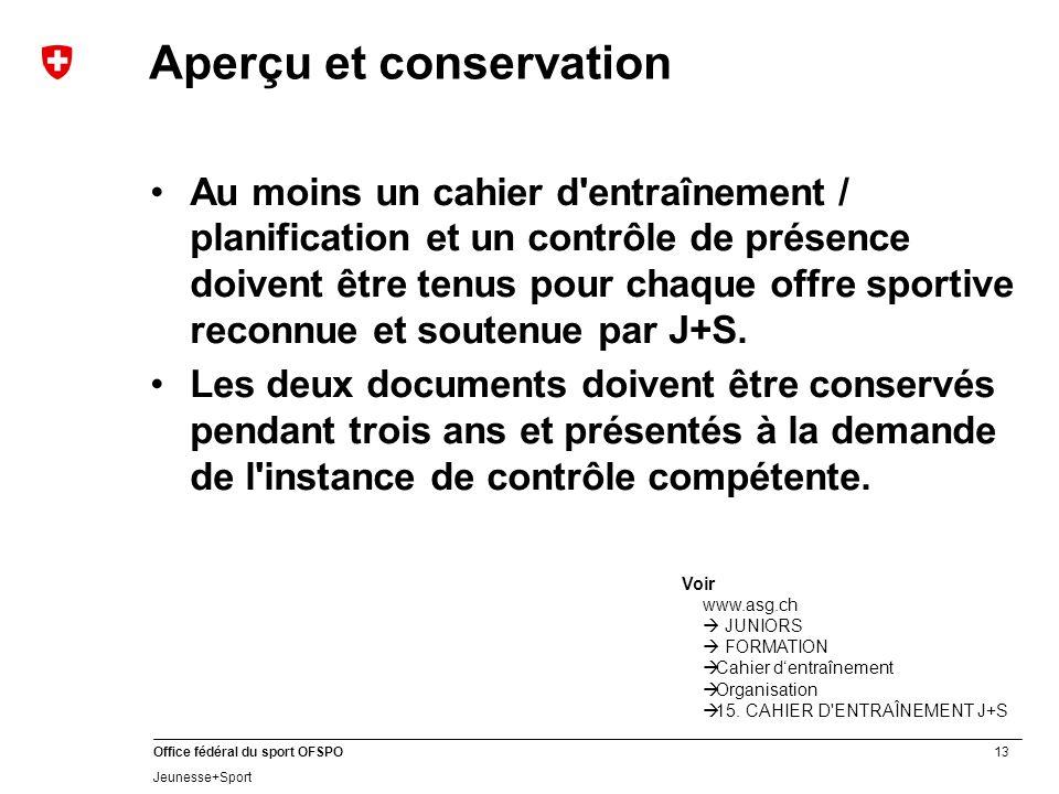 13 Office fédéral du sport OFSPO Jeunesse+Sport Aperçu et conservation Au moins un cahier d'entraînement / planification et un contrôle de présence do