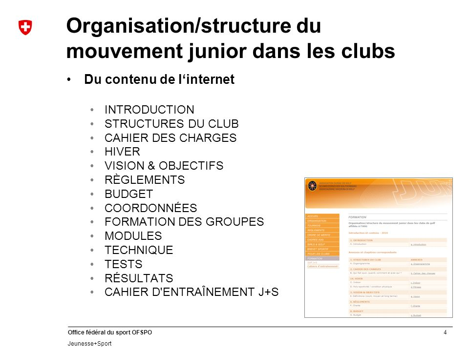4 Office fédéral du sport OFSPO Jeunesse+Sport Organisation/structure du mouvement junior dans les clubs Du contenu de linternet INTRODUCTION STRUCTUR