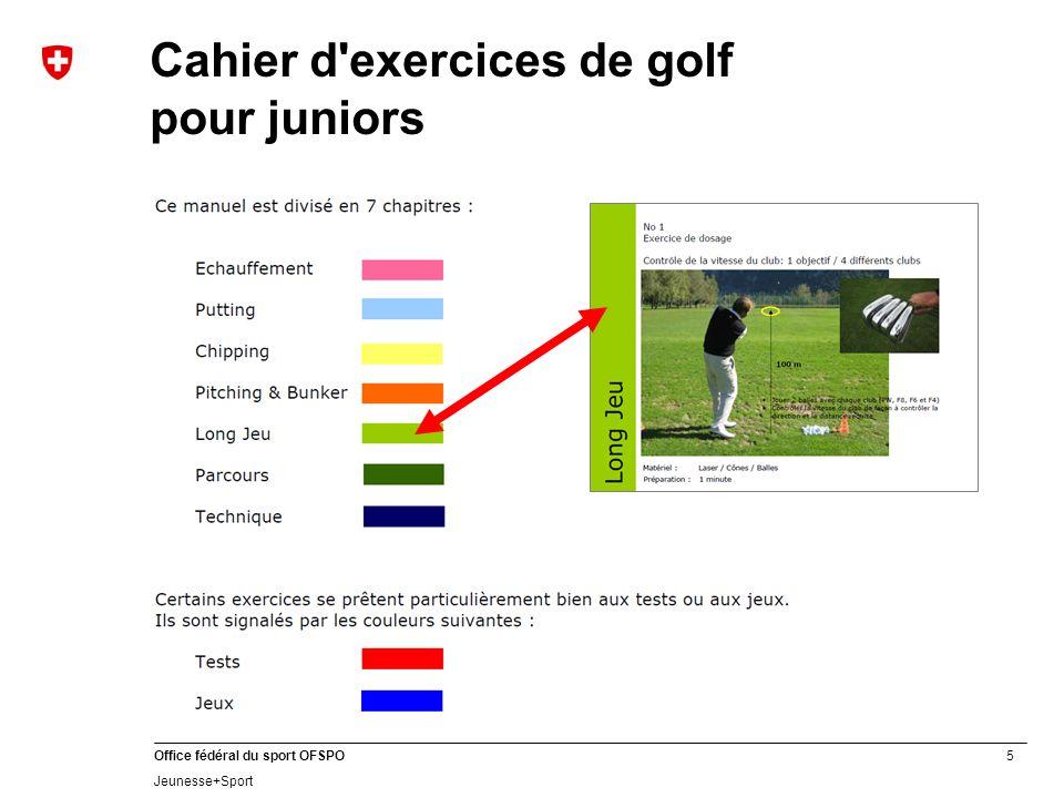 6 Office fédéral du sport OFSPO Jeunesse+Sport Formes de jeu et entraînements sur le parcours Voir www.asg.ch JUNIORS FORMATION Cahier dentraînement Exercices