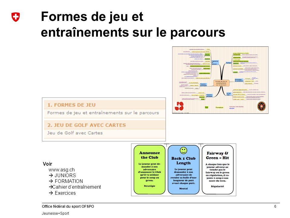 6 Office fédéral du sport OFSPO Jeunesse+Sport Formes de jeu et entraînements sur le parcours Voir www.asg.ch JUNIORS FORMATION Cahier dentraînement E