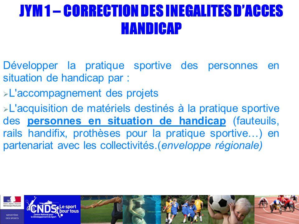 JYM 1 – CORRECTION DES INEGALITES DACCES HANDICAP Développer la pratique sportive des personnes en situation de handicap par : L'accompagnement des pr