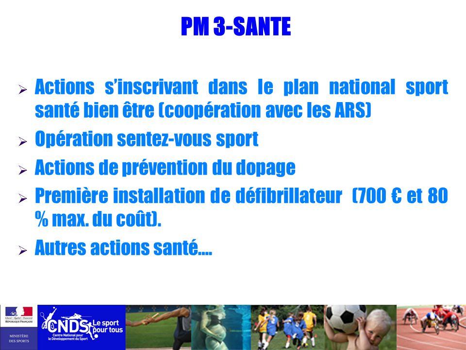 PM 3-SANTE Actions sinscrivant dans le plan national sport santé bien être (coopération avec les ARS) Opération sentez-vous sport Actions de préventio