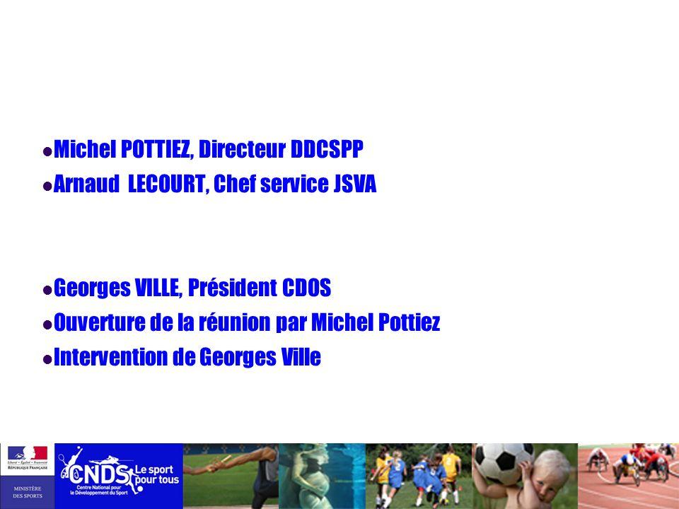 Michel POTTIEZ, Directeur DDCSPP Arnaud LECOURT, Chef service JSVA Georges VILLE, Président CDOS Ouverture de la réunion par Michel Pottiez Interventi