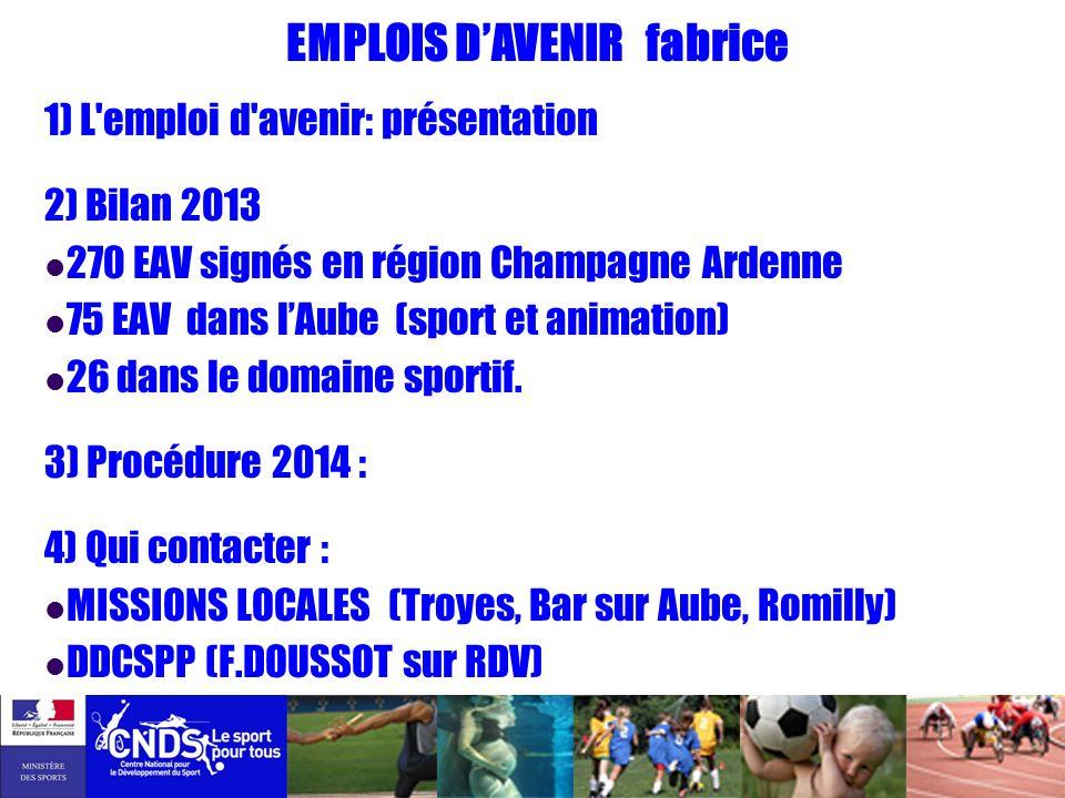 EMPLOIS DAVENIR fabrice 1) L'emploi d'avenir: présentation 2) Bilan 2013 270 EAV signés en région Champagne Ardenne 75 EAV dans lAube (sport et animat