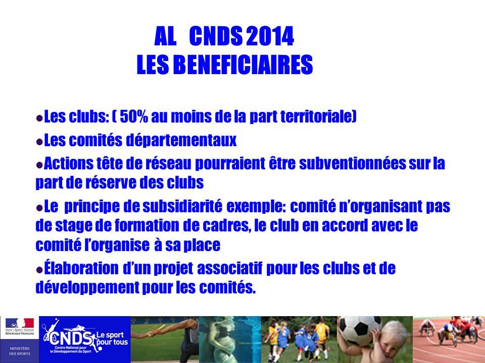 AL CNDS 2014 LES BENEFICIAIRES Les clubs: ( 50% au moins de la part territoriale) Les comités départementaux Actions tête de réseau pourraient être su