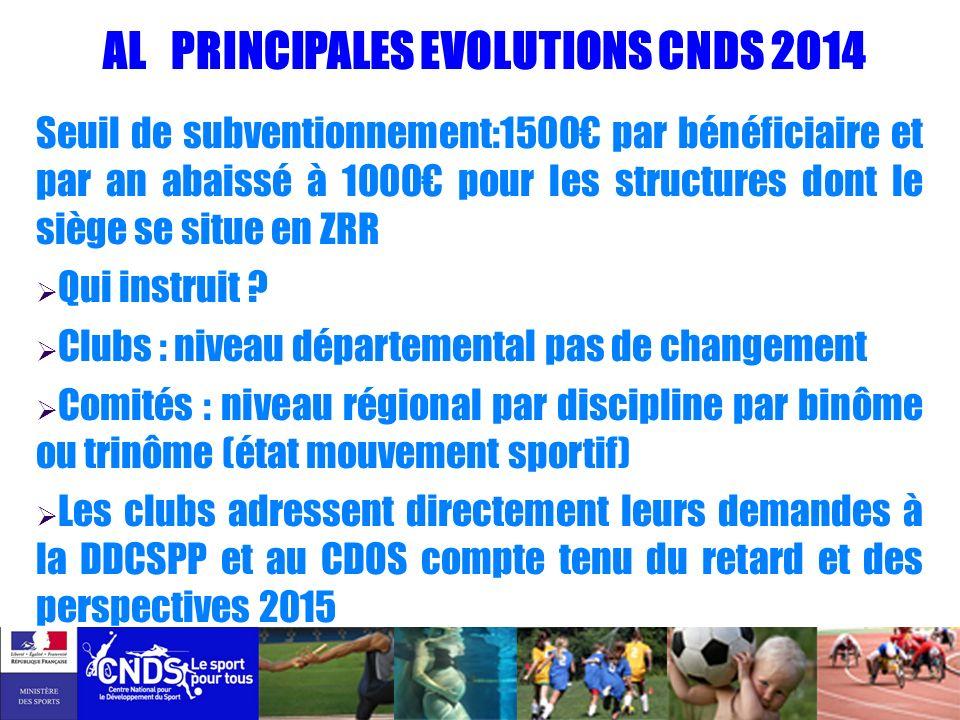 AL PRINCIPALES EVOLUTIONS CNDS 2014 Seuil de subventionnement:1500 par bénéficiaire et par an abaissé à 1000 pour les structures dont le siège se situ
