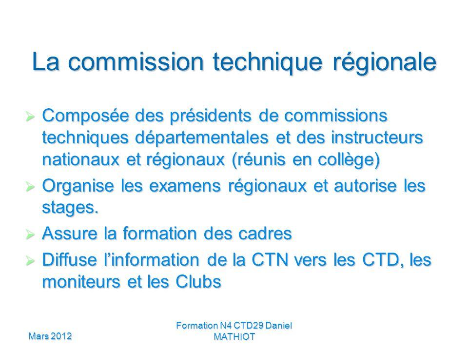 Mars 2012 Formation N4 CTD29 Daniel MATHIOT La commission technique régionale Composée des présidents de commissions techniques départementales et des