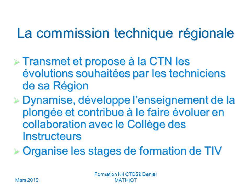 Mars 2012 Formation N4 CTD29 Daniel MATHIOT La commission technique régionale Transmet et propose à la CTN les évolutions souhaitées par les technicie