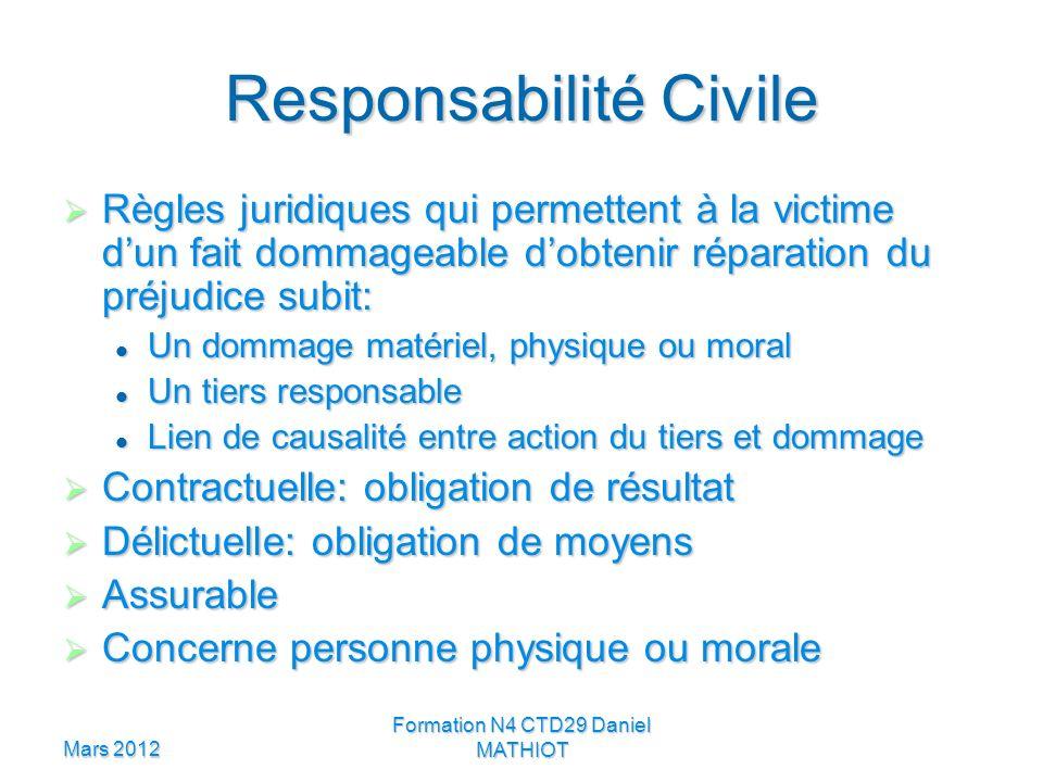 Mars 2012 Formation N4 CTD29 Daniel MATHIOT Responsabilité Civile Règles juridiques qui permettent à la victime dun fait dommageable dobtenir réparati