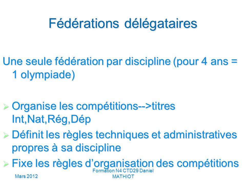 Mars 2012 Formation N4 CTD29 Daniel MATHIOT Fédérations délégataires Une seule fédération par discipline (pour 4 ans = 1 olympiade) Organise les compé