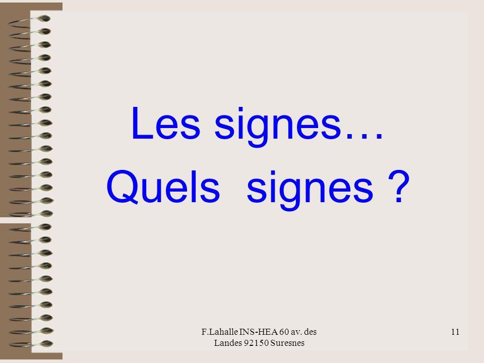 F.Lahalle INS-HEA 60 av. des Landes 92150 Suresnes 11 Les signes… Quels signes ?