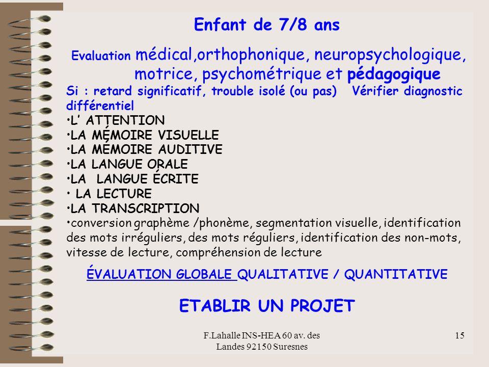 F.Lahalle INS-HEA 60 av. des Landes 92150 Suresnes 15 Enfant de 7/8 ans Evaluation médical,orthophonique, neuropsychologique, motrice, psychométrique