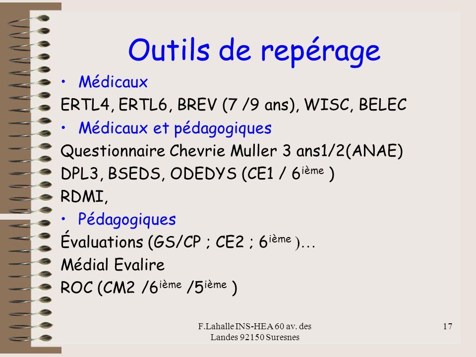 F.Lahalle INS-HEA 60 av. des Landes 92150 Suresnes 17 Outils de repérage Médicaux ERTL4, ERTL6, BREV (7 /9 ans), WISC, BELEC Médicaux et pédagogiques