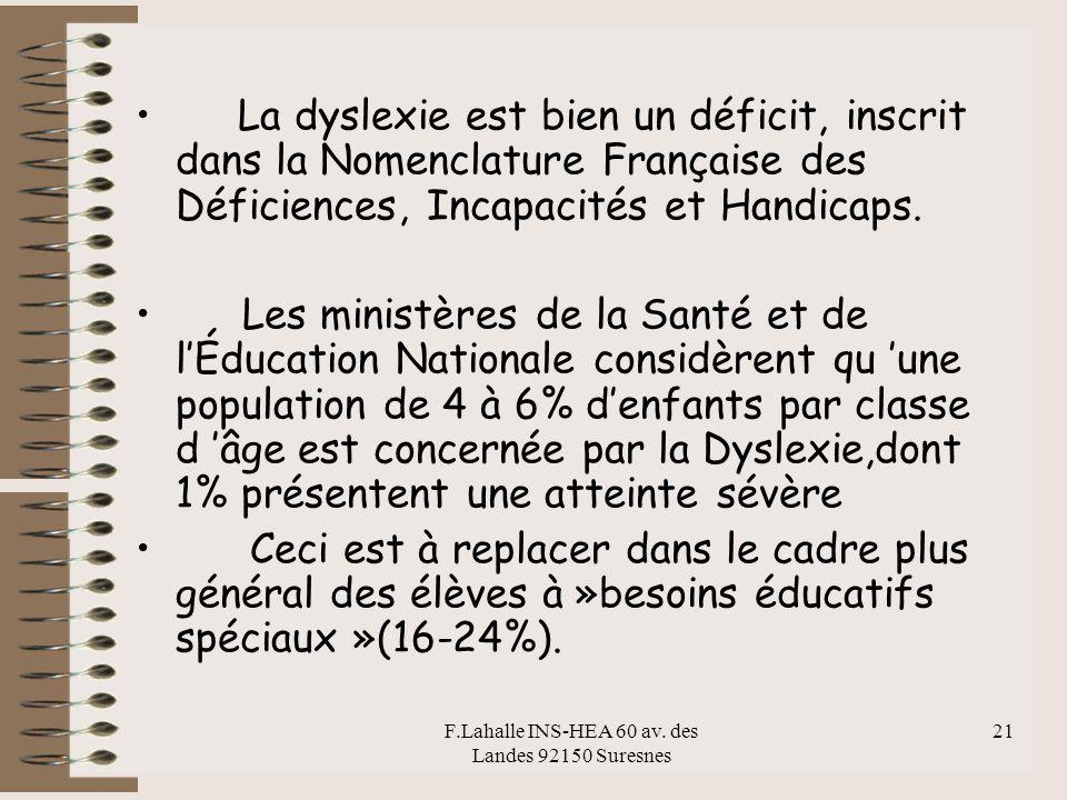 F.Lahalle INS-HEA 60 av. des Landes 92150 Suresnes 21 La dyslexie est bien un déficit, inscrit dans la Nomenclature Française des Déficiences, Incapac