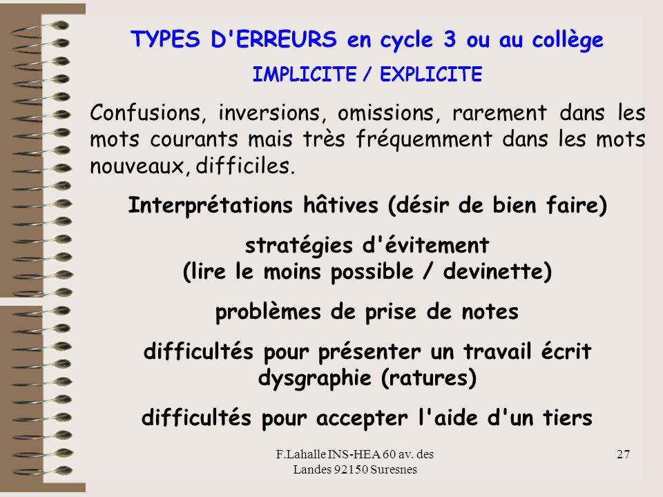 F.Lahalle INS-HEA 60 av. des Landes 92150 Suresnes 27 TYPES D'ERREURS en cycle 3 ou au collège IMPLICITE / EXPLICITE Confusions, inversions, omissions