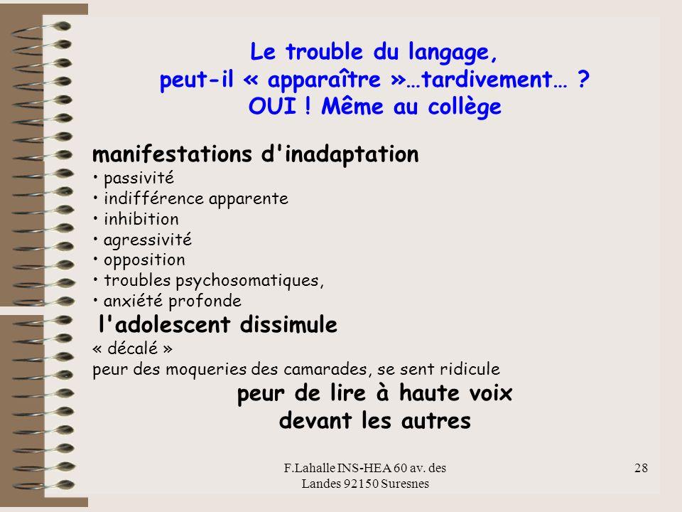 F.Lahalle INS-HEA 60 av. des Landes 92150 Suresnes 28 Le trouble du langage, peut-il « apparaître »…tardivement… ? OUI ! Même au collège manifestation