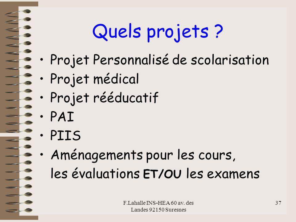 F.Lahalle INS-HEA 60 av. des Landes 92150 Suresnes 37 Quels projets ? Projet Personnalisé de scolarisation Projet médical Projet rééducatif PAI PIIS A