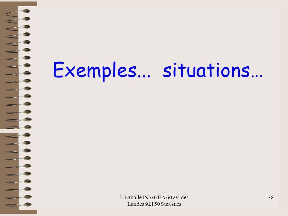 F.Lahalle INS-HEA 60 av. des Landes 92150 Suresnes 38 Exemples... situations…