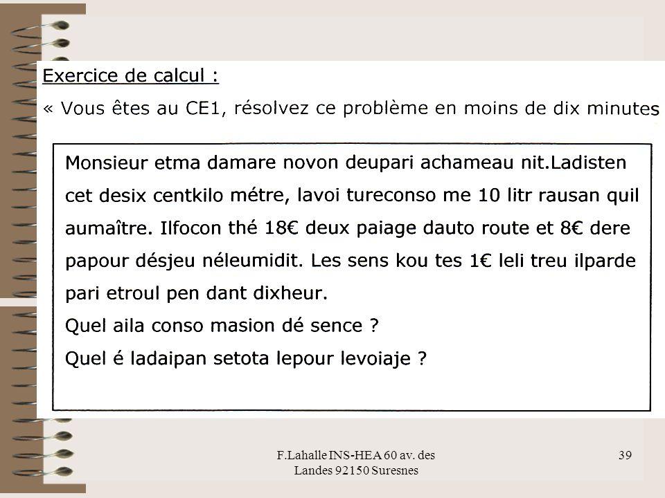 F.Lahalle INS-HEA 60 av. des Landes 92150 Suresnes 39