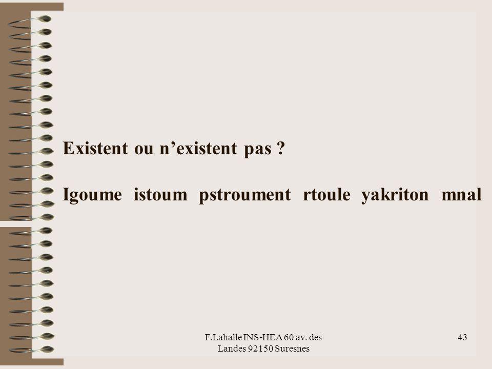 F.Lahalle INS-HEA 60 av. des Landes 92150 Suresnes 43 Existent ou nexistent pas ? Igoume istoum pstroument rtoule yakriton mnal