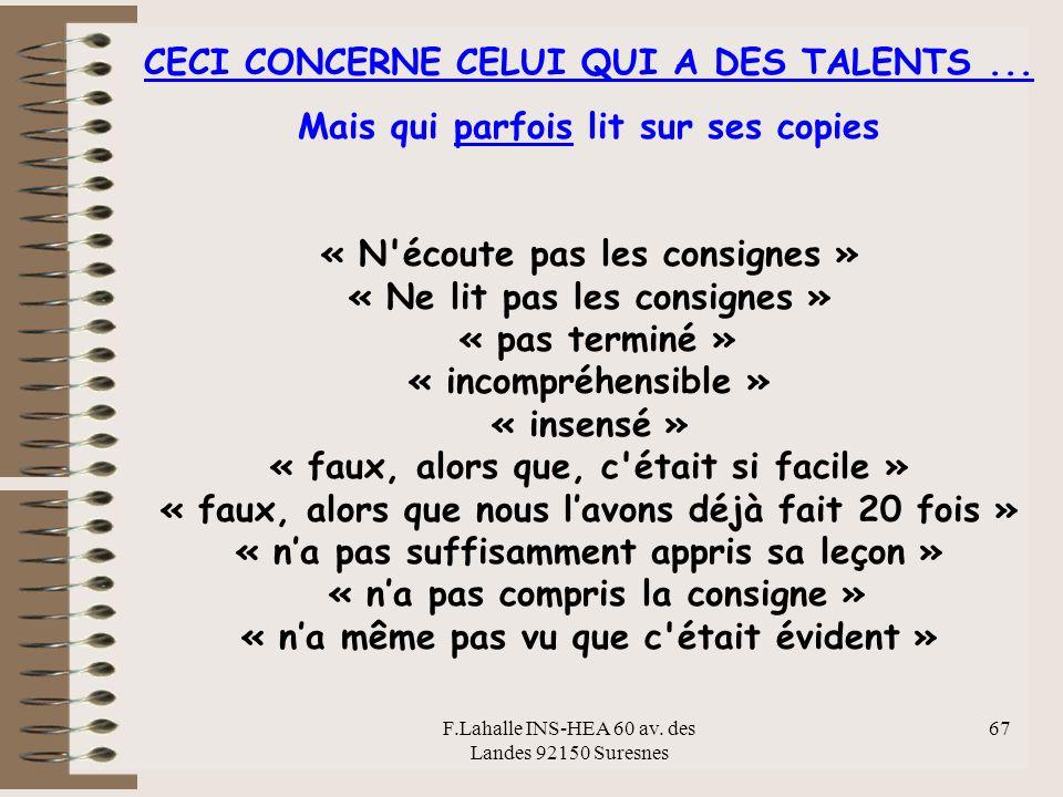 F.Lahalle INS-HEA 60 av.des Landes 92150 Suresnes 67 CECI CONCERNE CELUI QUI A DES TALENTS...