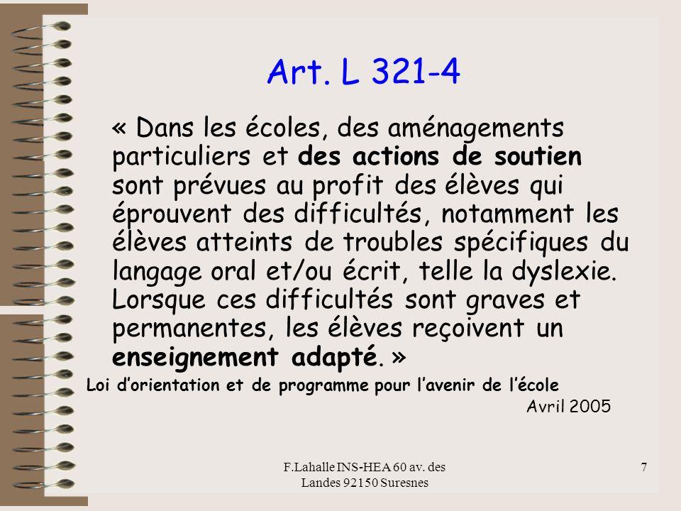F.Lahalle INS-HEA 60 av.des Landes 92150 Suresnes 7 Art.