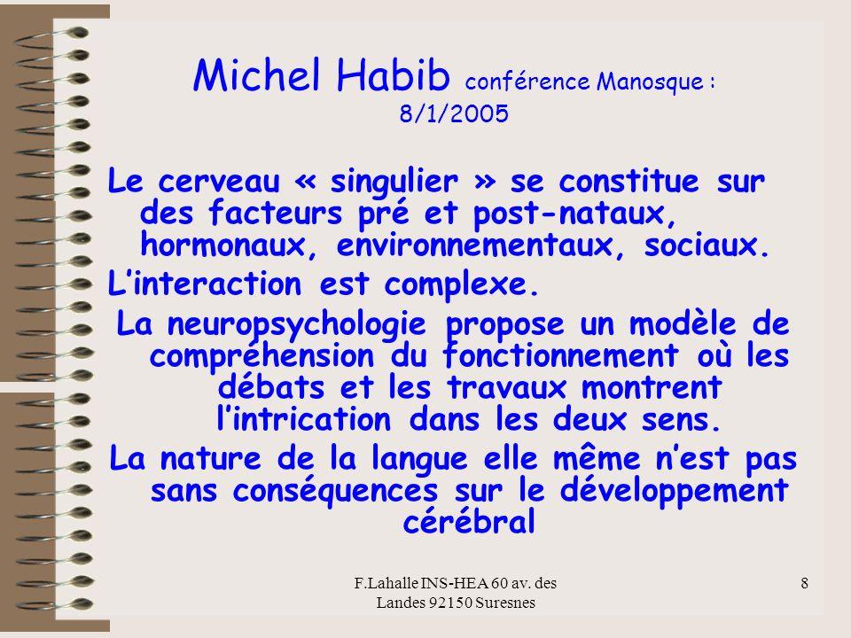 F.Lahalle INS-HEA 60 av. des Landes 92150 Suresnes 8 Michel Habib conférence Manosque : 8/1/2005 Le cerveau « singulier » se constitue sur des facteur