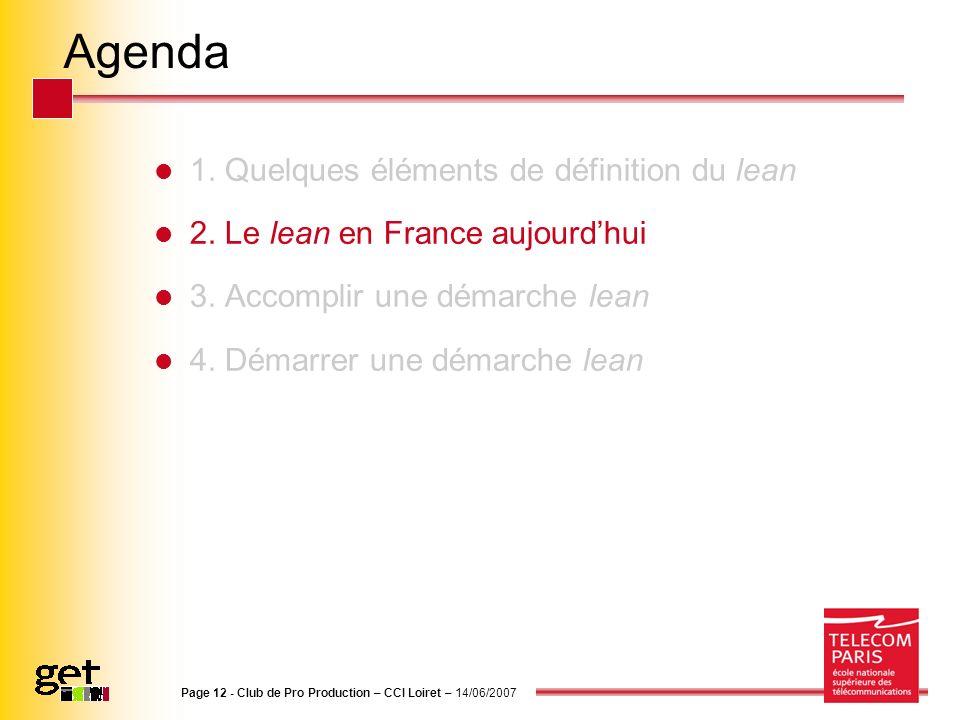 Agenda 1. Quelques éléments de définition du lean 2. Le lean en France aujourdhui 3. Accomplir une démarche lean 4. Démarrer une démarche lean Page 12