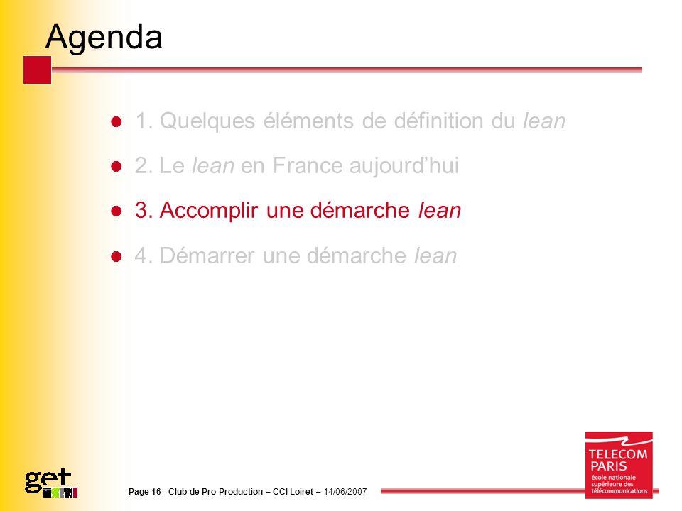 Agenda 1. Quelques éléments de définition du lean 2. Le lean en France aujourdhui 3. Accomplir une démarche lean 4. Démarrer une démarche lean Page 16
