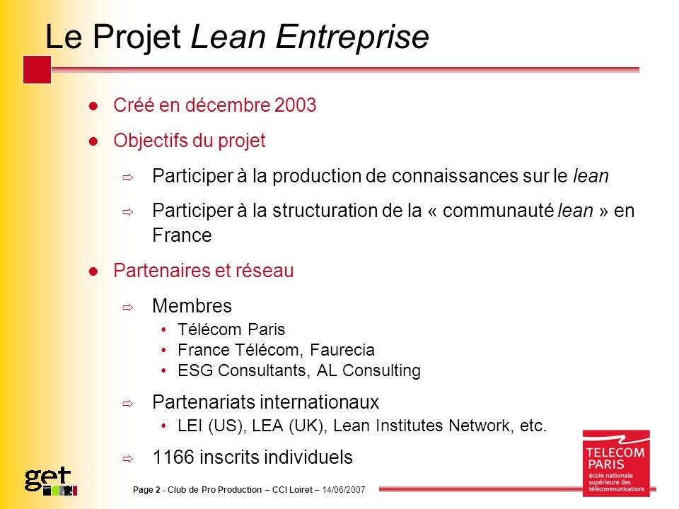 Le Projet Lean Entreprise Créé en décembre 2003 Objectifs du projet Participer à la production de connaissances sur le lean Participer à la structurat