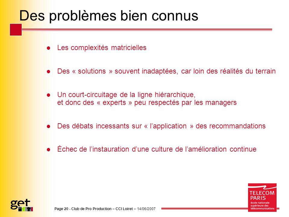 Page 20 - Club de Pro Production – CCI Loiret – 14/06/2007 Des problèmes bien connus Les complexités matricielles Des « solutions » souvent inadaptées