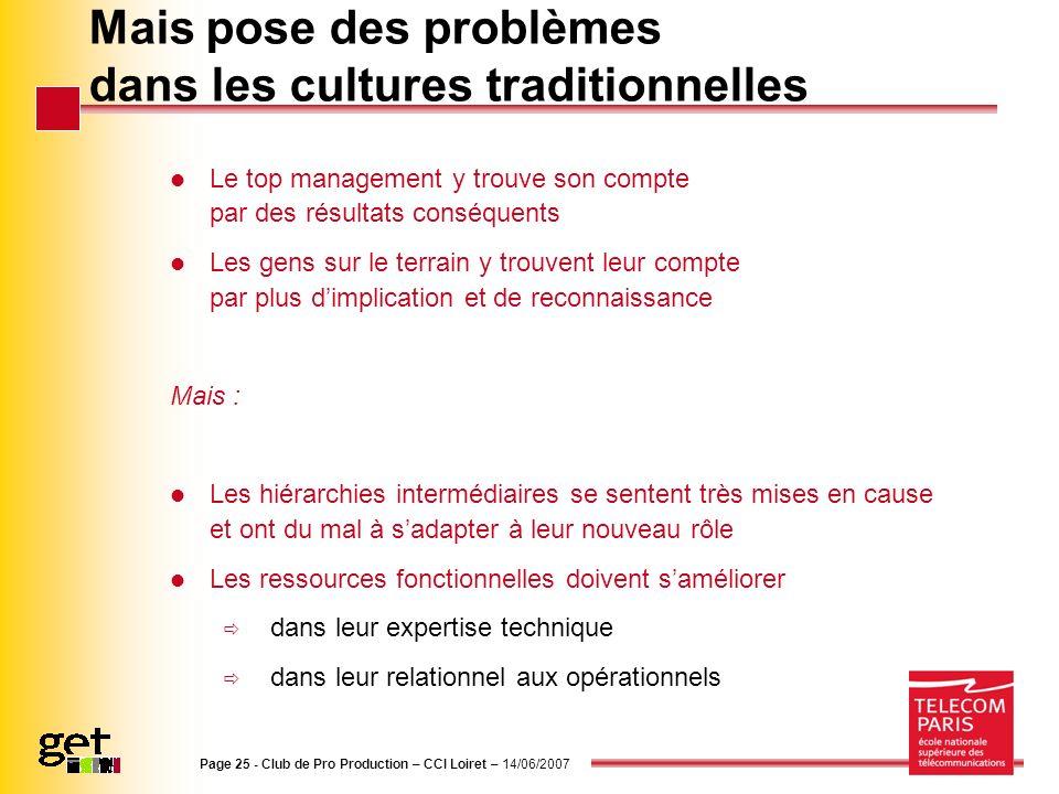 Page 25 - Club de Pro Production – CCI Loiret – 14/06/2007 Mais pose des problèmes dans les cultures traditionnelles Le top management y trouve son co