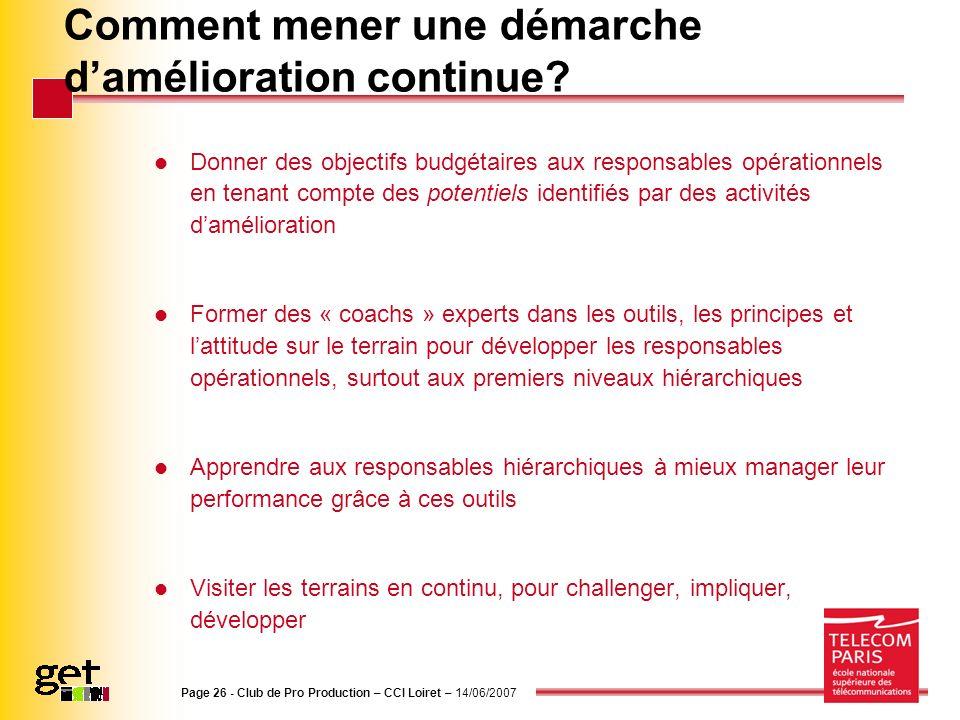 Page 26 - Club de Pro Production – CCI Loiret – 14/06/2007 Comment mener une démarche damélioration continue? Donner des objectifs budgétaires aux res